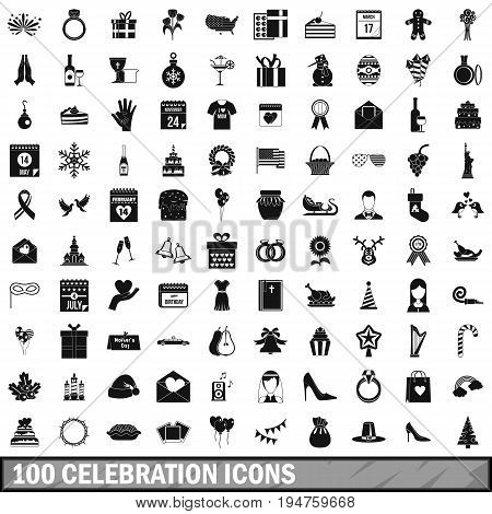 100 celebration icons set in simple style for any design vector illustration