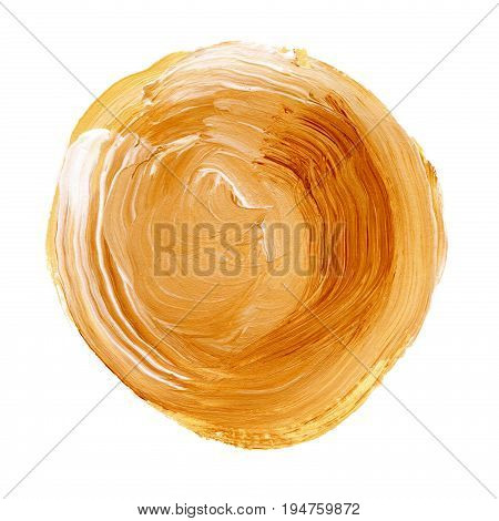 Acrylic Circle Isolated On White Background. Yellow, Orange Round Watercolor Shape For Text. Element