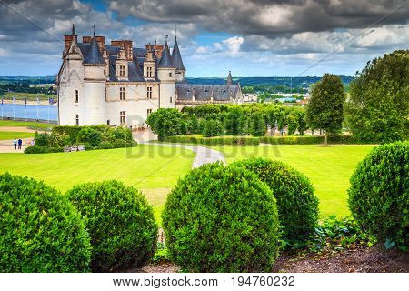 Amazing ornamental garden of Amboise castle in the Loire Valley France Europe