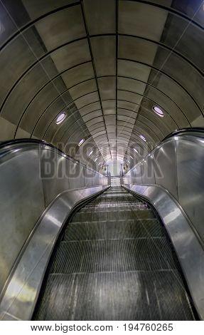 Empty escalator on the London underground train system