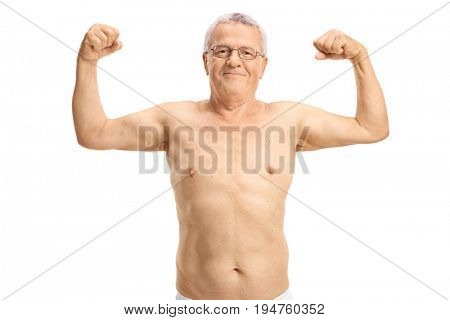 Shirtless elderly man flexing his biceps isolated on white background