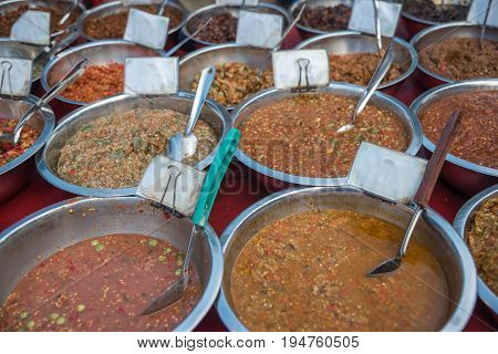 Chili Sauce, Chili Paste Or Pepper Sauce In Market