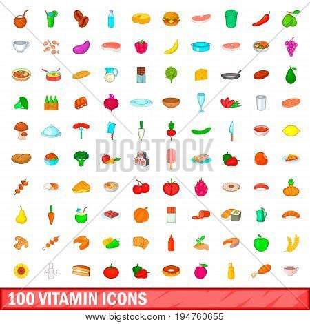 100 vitamin icons set in cartoon style for any design illustration