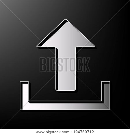 Upload sign illustration. Vector. Gray 3d printed icon on black background.