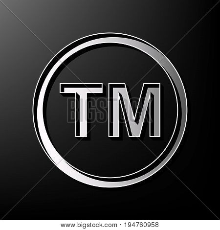 Trade mark sign. Vector. Gray 3d printed icon on black background.