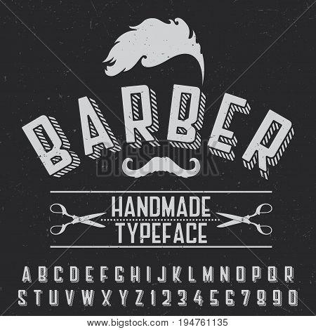 Barber handmade typeface poster for design on black background vector illustration