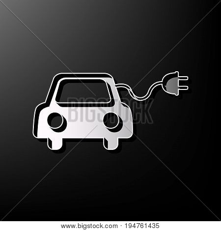 Eco electric car sign. Vector. Gray 3d printed icon on black background.
