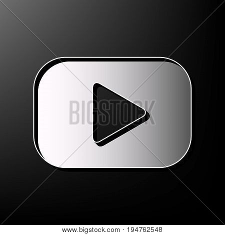 Play button sign. Vector. Gray 3d printed icon on black background.