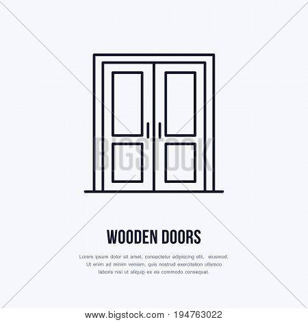 Wooden doors installation logo, repair flat line icon. Interior design thin linear sign for house decor shop, handyman service.