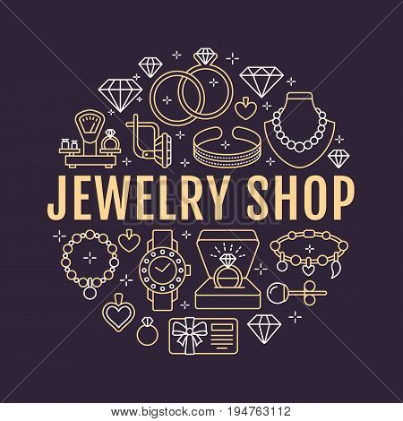 Jewelry shop, diamond accessories banner illustration. Vector line icon of jewels - gold engagement rings, gem earrings, silver necklaces, charms bracelets, brilliants. Fashion store circle template. poster