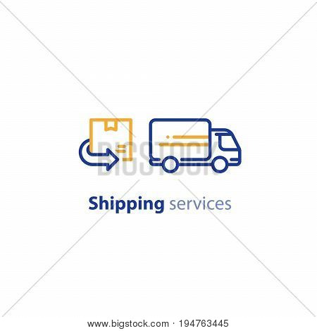 Truck delivery services, fast relocation, transportation company logo elements, shipping order, distribution line icon, return parcel outline vector