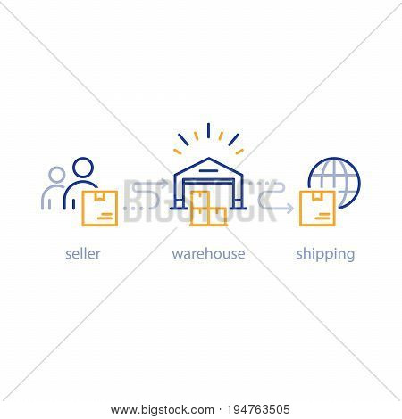 International parcel shipment, global shipping program, box delivery services, tracking order, globally transportation business, distribution warehouse, supply chain, storage industry vector line icon