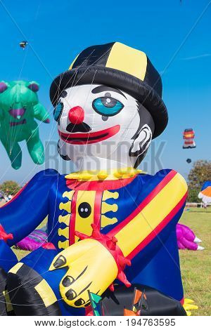 clown shaped kite at a kite festival
