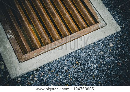 Drain On The Street. Water Drain On The Sidewalk In The Asia City For Background With Copy Space For