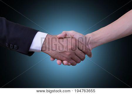 Businessmen shake hands Congratulations on the success.