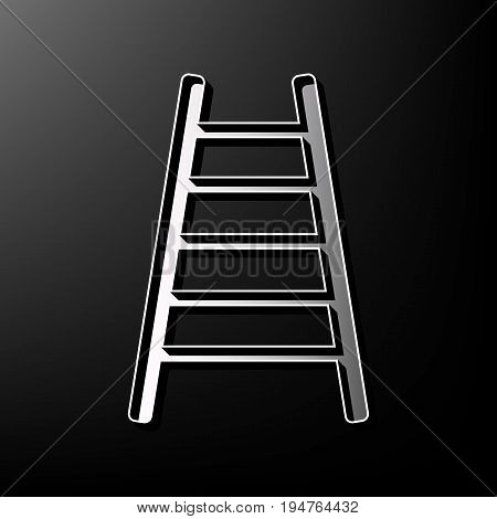 Ladder sign illustration. Vector. Gray 3d printed icon on black background.
