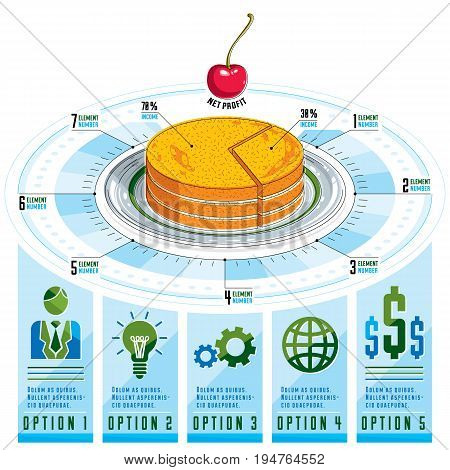 Infographics template piece of pie idea vector illustration.