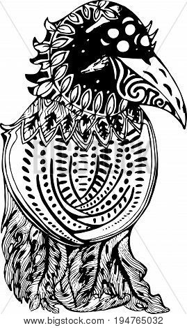 Black and white drawing of a crow. With the psychedelic cosmos inside