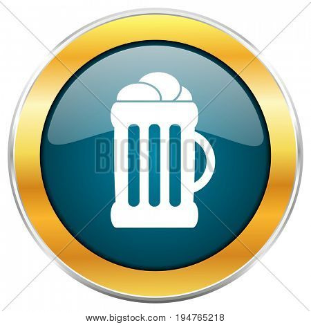 Beer blue glossy round icon with golden chrome metallic border isolated on white background for web and mobile apps designers.