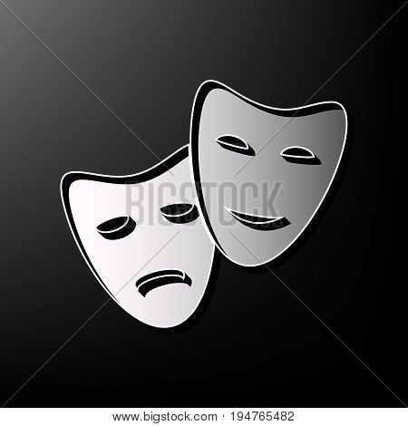 Theater icon with happy and sad masks. Vector. Gray 3d printed icon on black background.