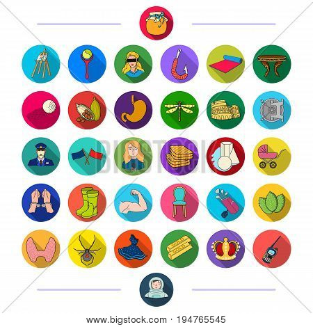 protection, sport, art and other  icon in flat style. business, medicine, nature, icons in set collection