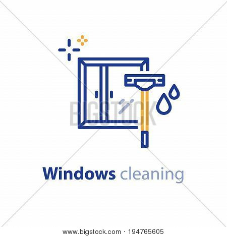 Glass window cleaning services, wiper and water drops, vector line icon