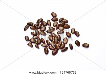Heap Of Custard Apple Seeds Isolated On White Background