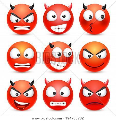Smiley, emoticon set. Red face with emotions. Facial expression. 3d realistic emoji. Sad, happy, angry faces.Funny cartoon character.Mood. Web icon. Vector illustration.