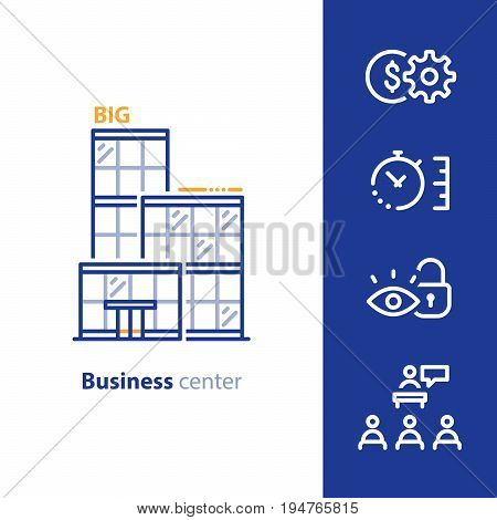 Business office center, rent offer, vector line icon