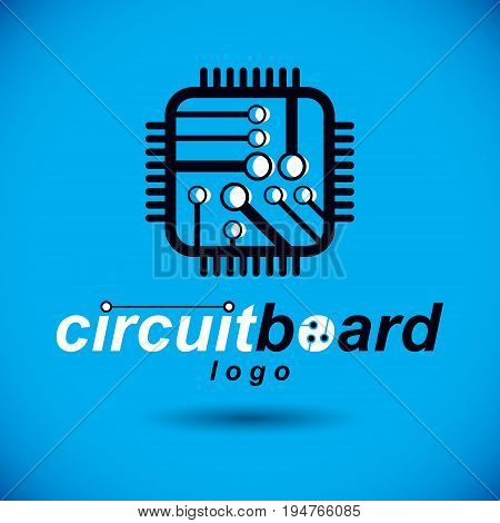 Vector microchip design cpu. Information communication technology element circuit board in square shape. Microprocessor scheme abstract logo.