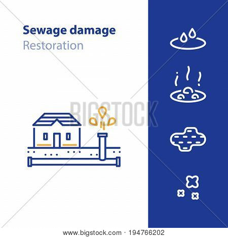 Sewage damage, pipes break, water leakage, house repair and cleaning services, overflow vector line icon