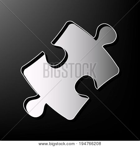Puzzle piece sign. Vector. Gray 3d printed icon on black background.