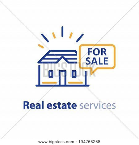Real estate services, house for sale sign, speech bubble with text, rental property, apartment rent, vector line icon