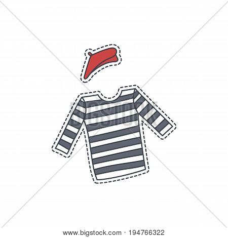 Hand drawn patch badge with France symbol - beret and striped tshirt. Sticker, pin and patche in cartoon 80s-90s comic style.