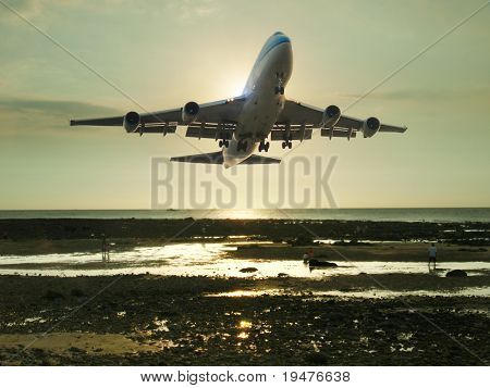 Airplane ready to landing poster