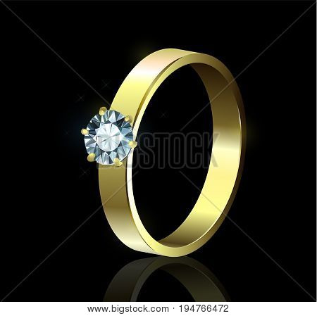 Gold ring with diamond on black background