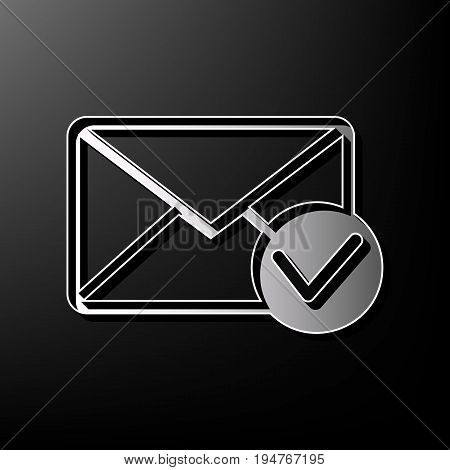 Mail sign illustration with allow mark. Vector. Gray 3d printed icon on black background.