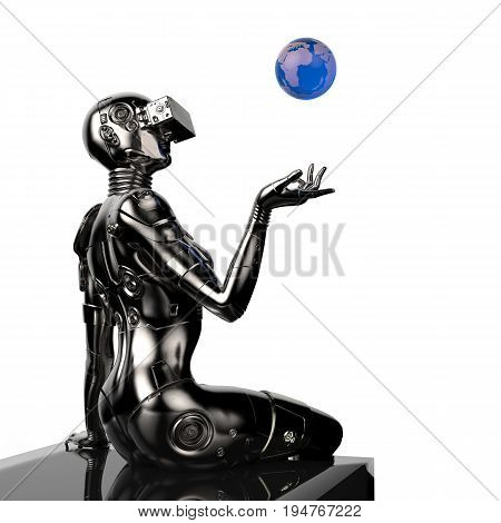 3D illustration. The stylish cyborg the woman with the globe in hands Futuristic fashion android.