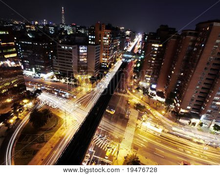 Rush hour in night of city