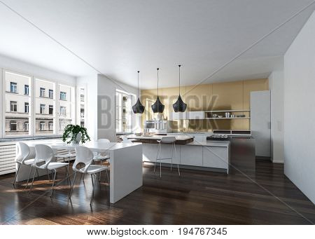 Modern design kitchen interior with golden wall in an urban loft. 3d Rendering.