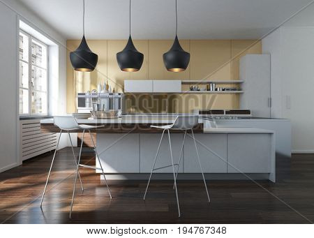 Modern design kitchen interior with golden wall in an urban loft. 3d Rendering.