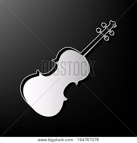 Violin sign illustration. Vector. Gray 3d printed icon on black background.