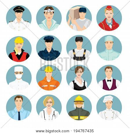 Vector illustration of profession character in uniform on white background