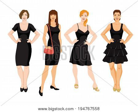 Vector illustration of different model of little black dress. Young women with different hairstyle isolated on white background .