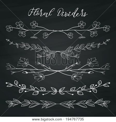 Chalk Drawing Doodle Dividers, Line Borders with Branches, Herbs, Plants and Flowers on Chalkboard Texture. Decorative Outlined Vector Illustration. Floral Dividers