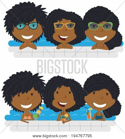 Beautiful African American girls relaxing and drinking cocktails in the pool. Young teens having fun in outdoor swimming pool. Summer vacation in the resort vector illustration.