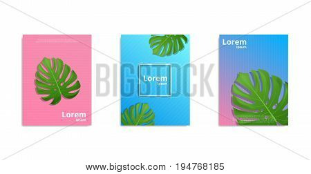 Covers design with tropical monstera leaves. Posters with realistic Monstera leaves. Minimal design