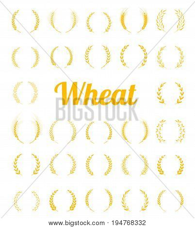 Gold laurel wreath - a symbol of the winner. Concept for organic products label, harvest and farming, grain, bakery, healthy food. Set of silhouette circular laurel foliate and wheat wreaths.
