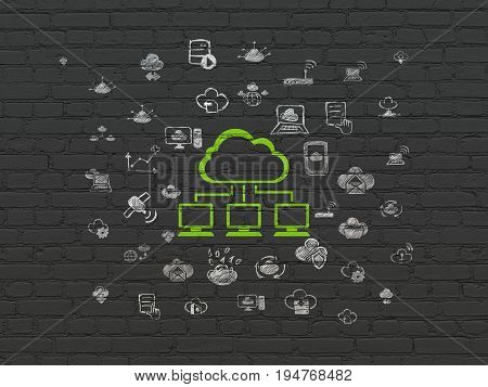 Cloud networking concept: Painted green Cloud Network icon on Black Brick wall background with  Hand Drawn Cloud Technology Icons