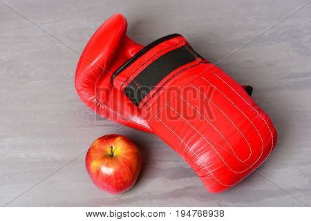 Pair Of Leather Boxing Sportswear With Apple. Training And Fitness